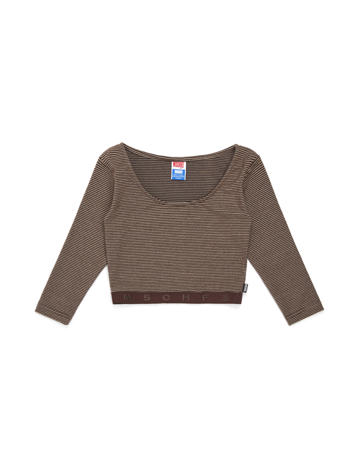 FITTED STRIPE WAISTBAND_brown/beige