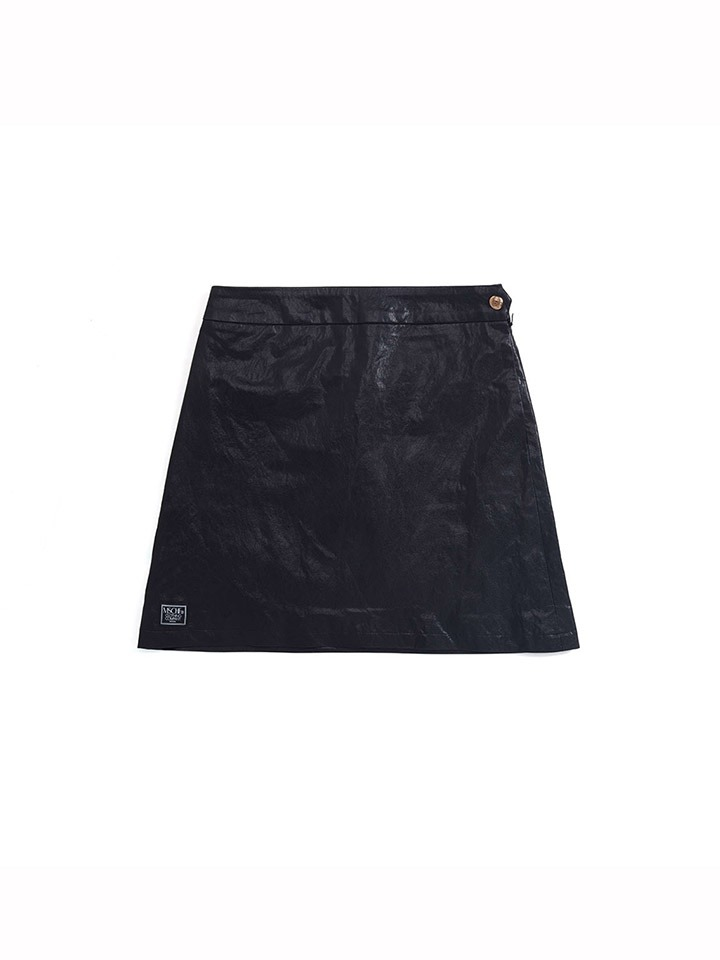 FAUX LEATHER ZIP SKIRT_black