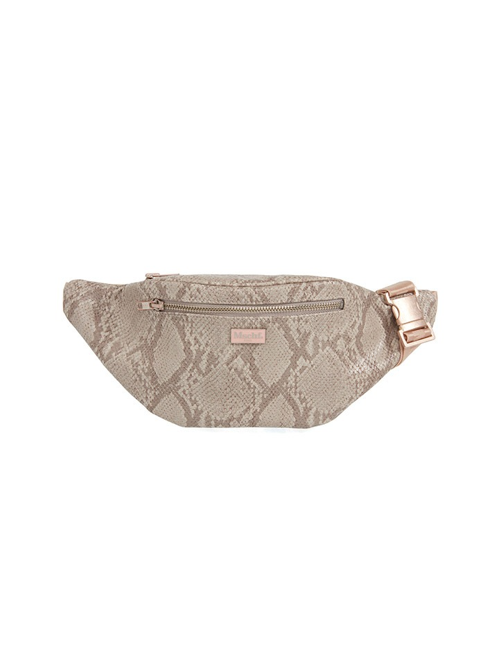 FAUX LEATHER HIP SACK_faux python pink