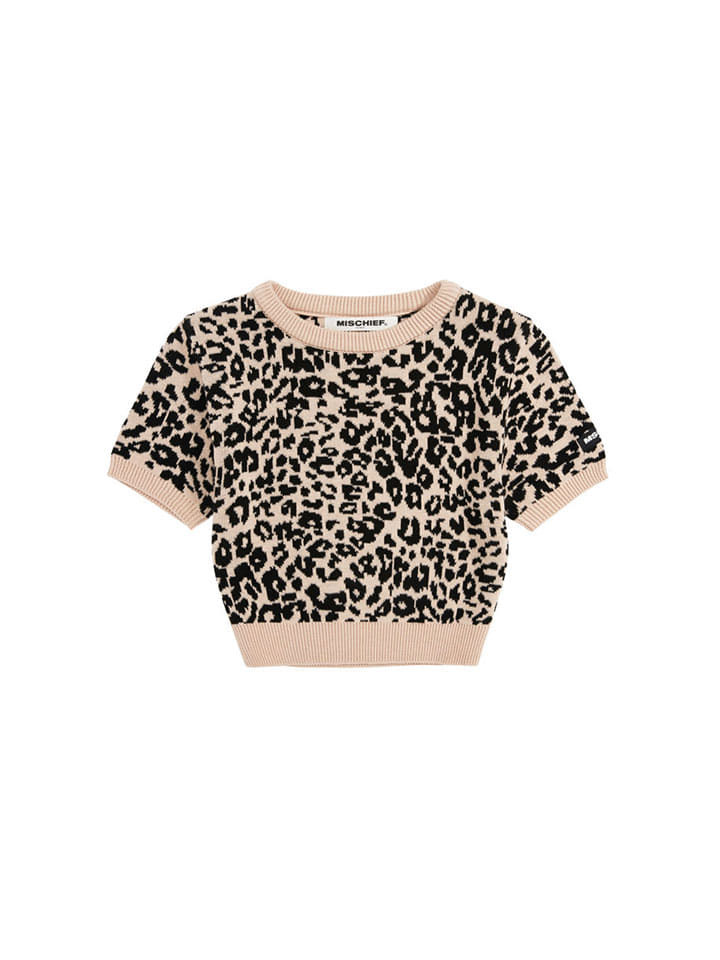 CROPPED LEOPARD KNIT_beige/black