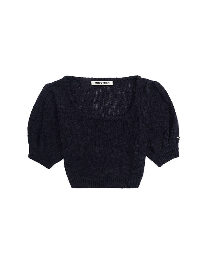 PUFF SLEEVE KNIT TOP_navy
