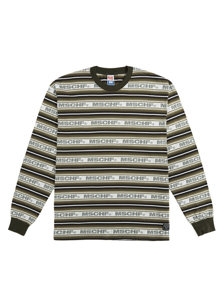 STRIPED LOGO LONG SLEEVE_charcoal multi