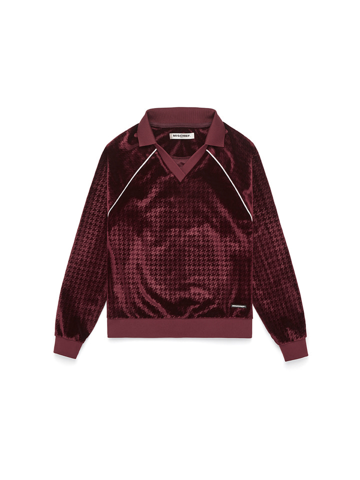 VELVET COLLARED JERSEY_burgundy