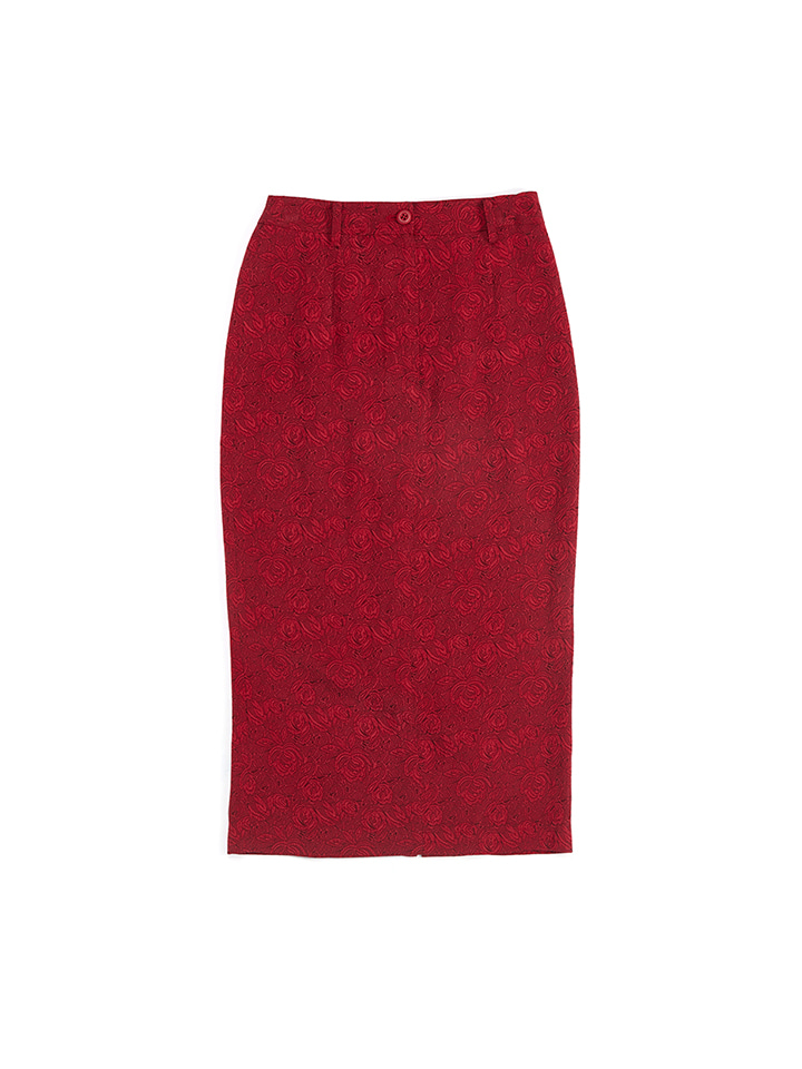 JACQUARD PENCIL SKIRT_red rose