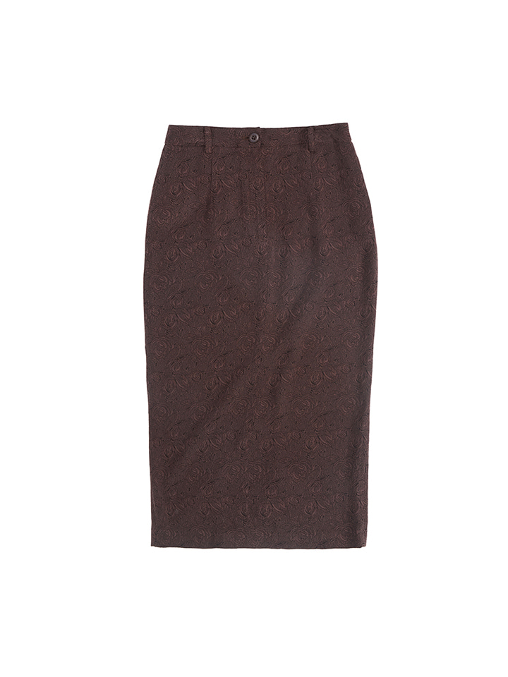 JACQUARD PENCIL SKIRT_brown rose