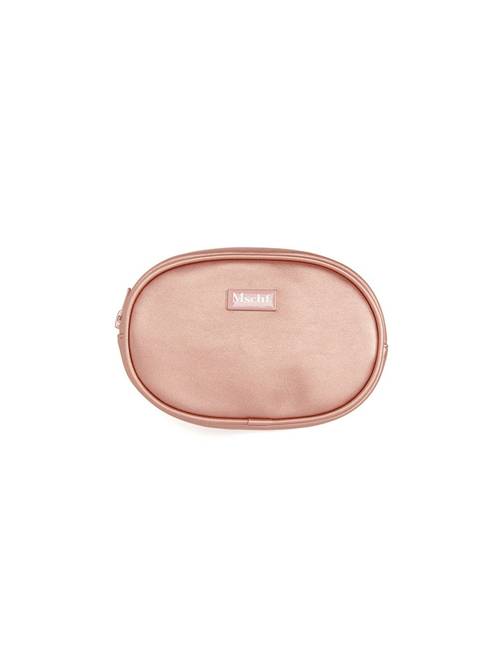 FAUX LEATHER POUCH_metallic pink