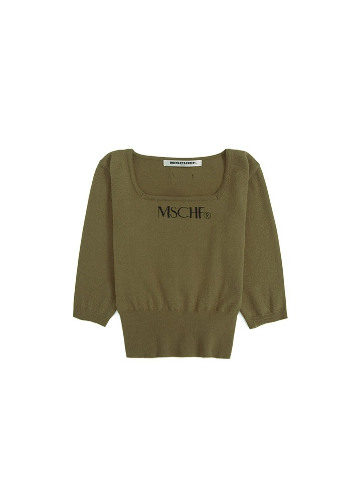 SQUARE NECK KNIT_olive