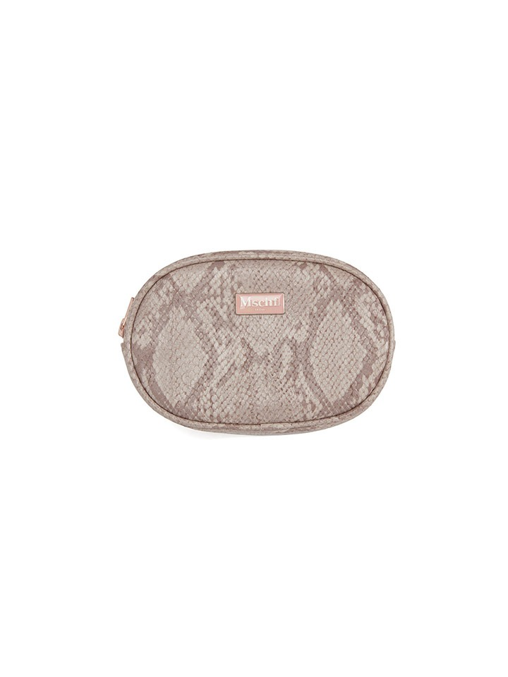 FAUX LEATHER POUCH_faux python pink
