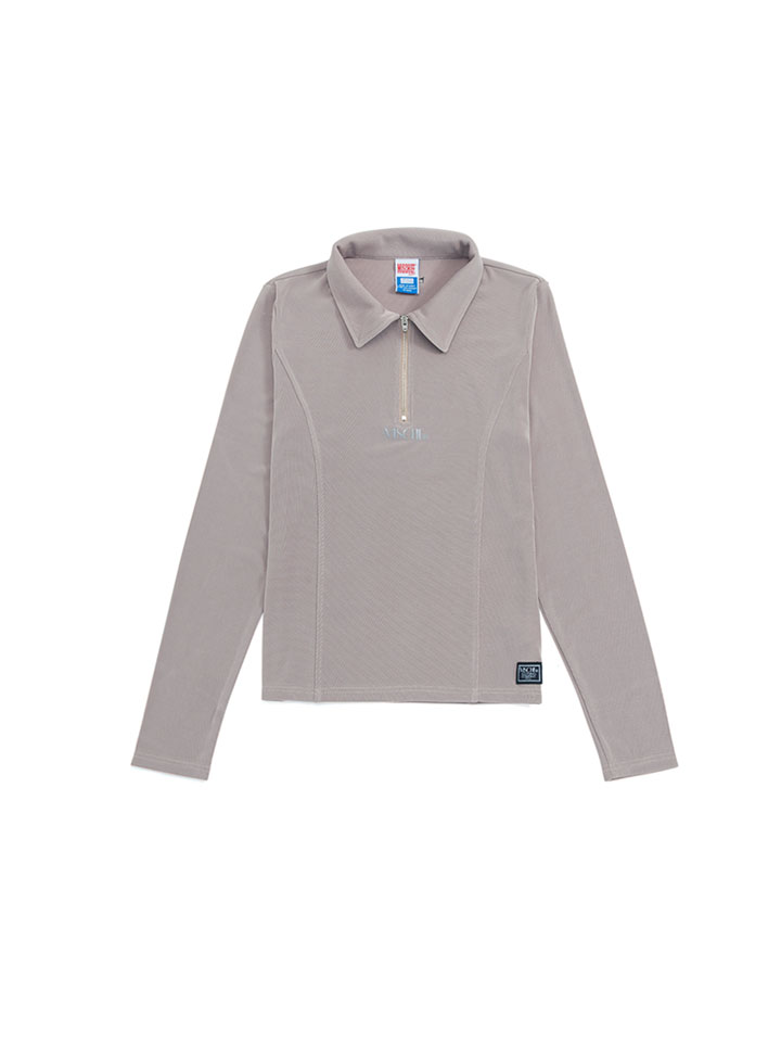 COLLARED ZIP LONG SLEEVE_beige