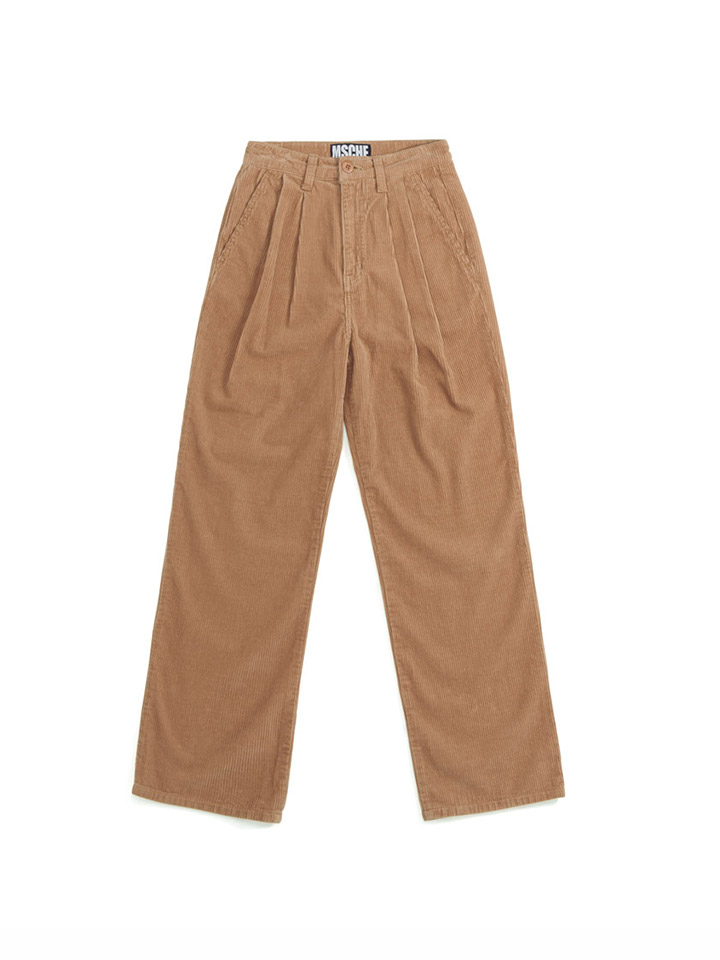 DOUBLE PLEAT CORDUROY TROUSERS_beige