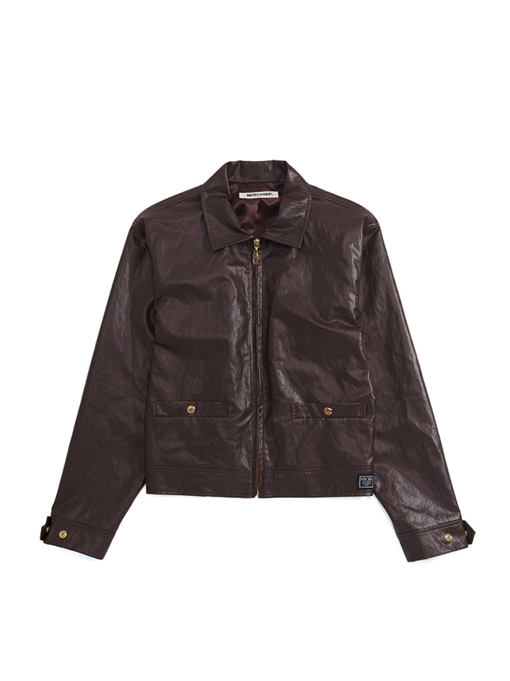 FAUX LEATHER ZIP JUMPER_brown