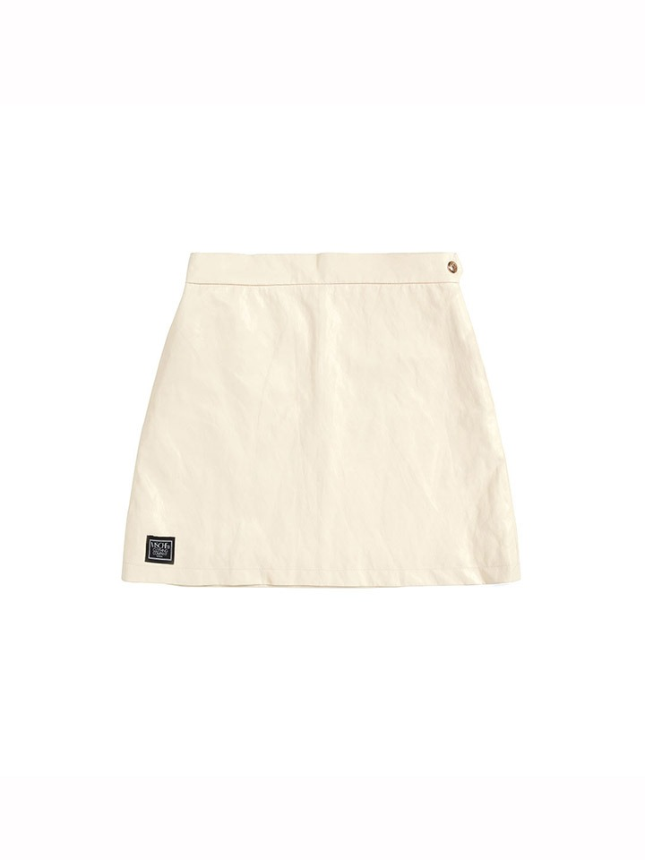 FAUX LEATHER ZIP SKIRT_cream