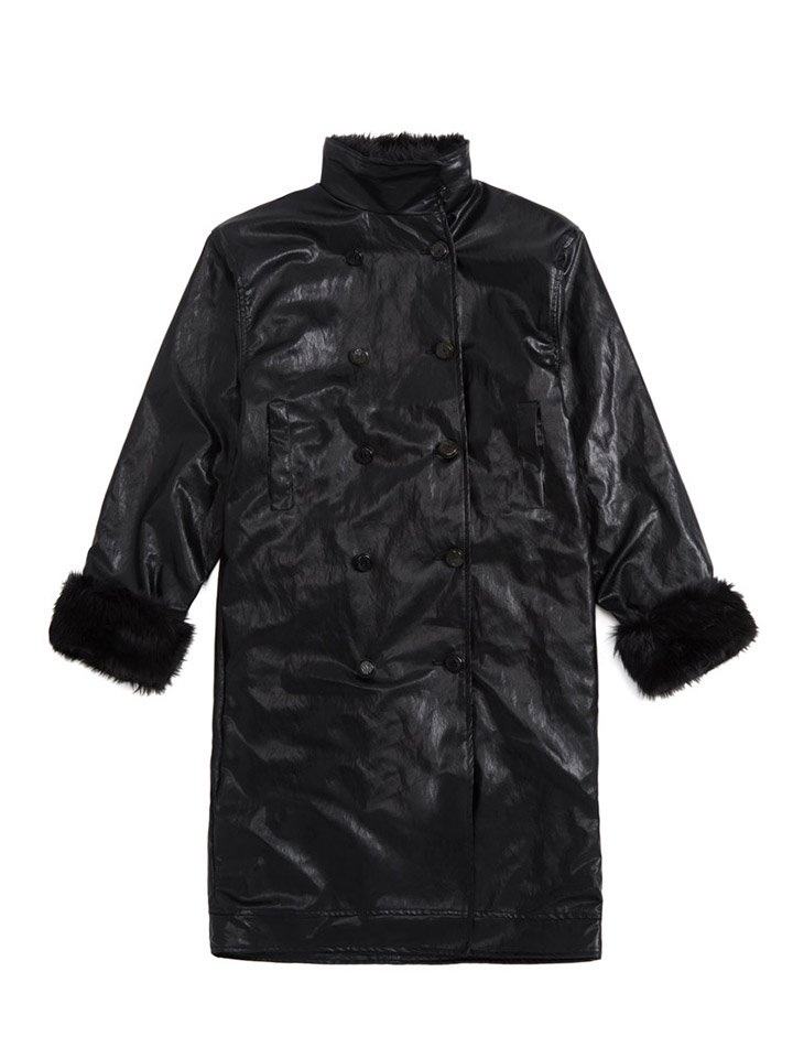 FAUX LEATHER DOUBLE COAT_black