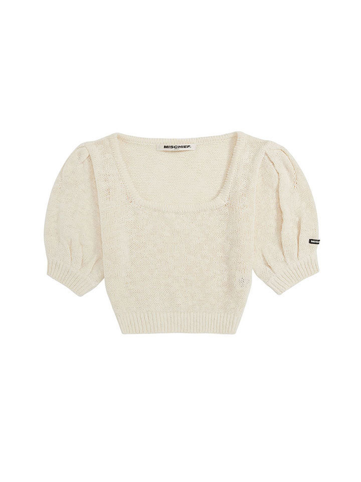 PUFF SLEEVE KNIT TOP_cream