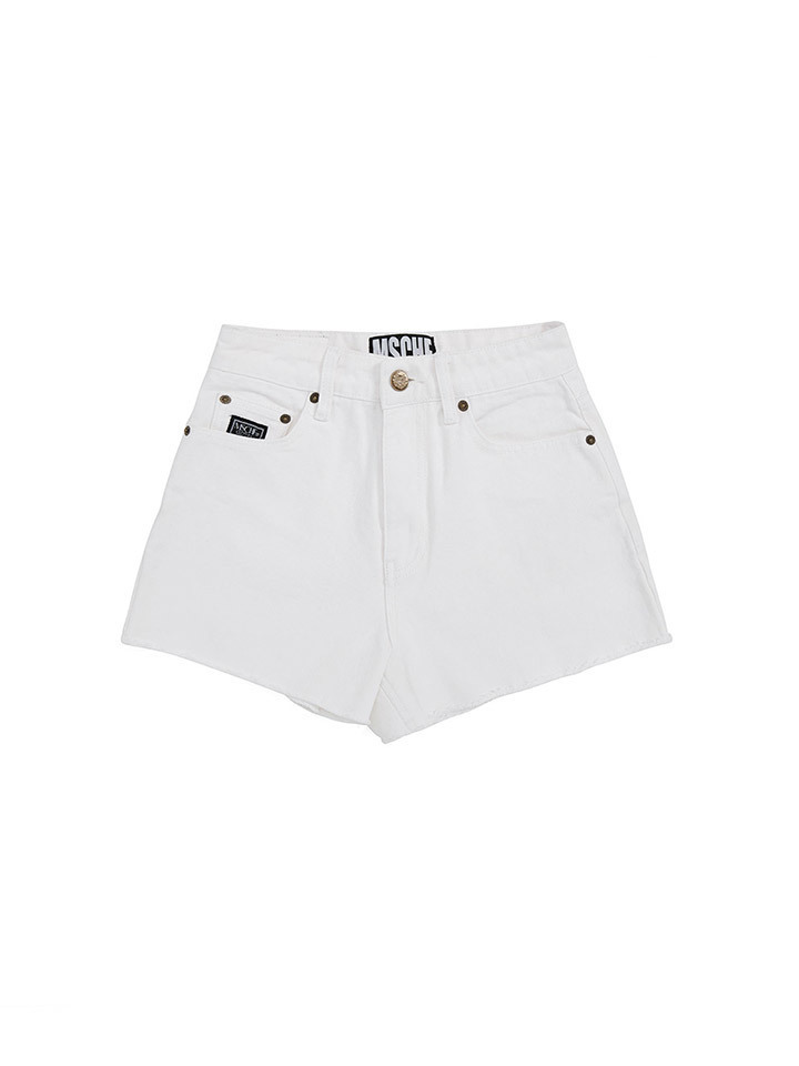 STITCH DENIM SHORTS_white