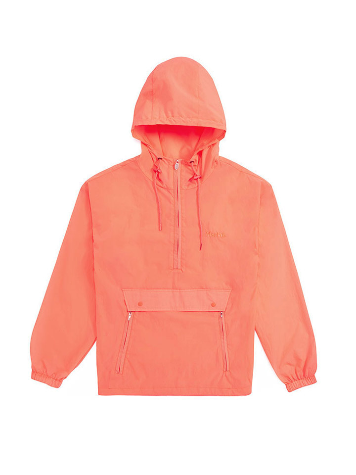 HOODED POPOVER WINDBREAKER_neon pink
