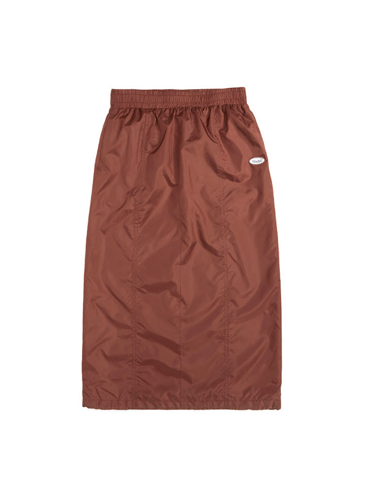 SATIN LONG SKIRT_brick red