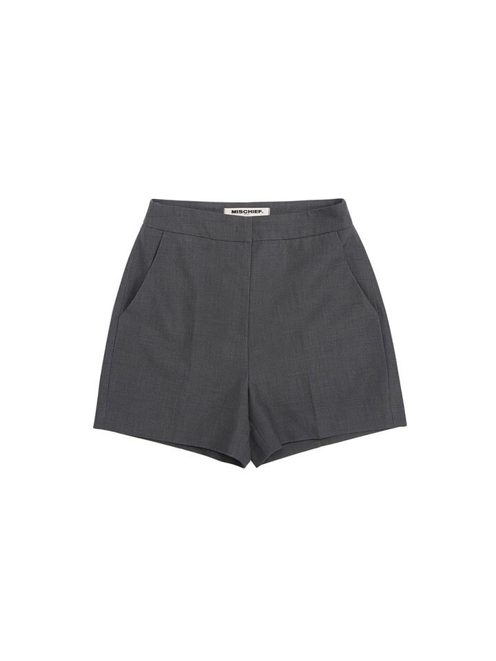 HIGH WAISTED DRESS SHORTS_gray