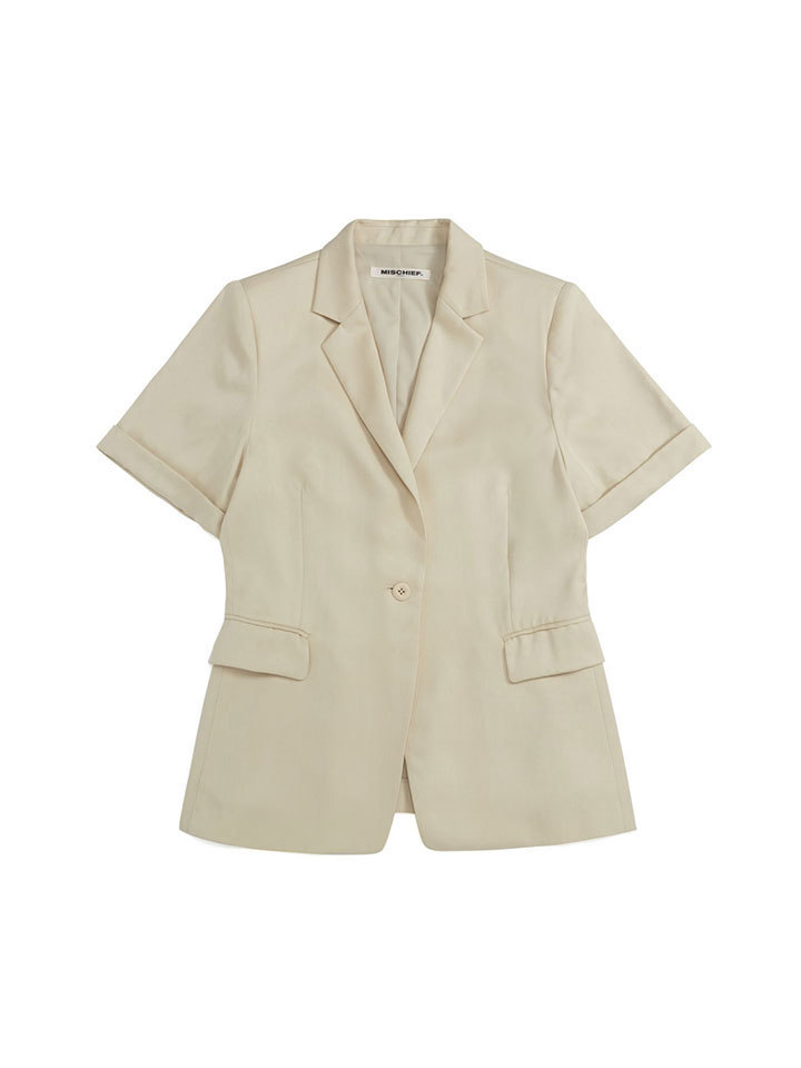 TENCEL CUFFED SHORT SLEEVE BLAZER_ivory