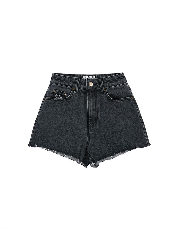STITCH DENIM SHORTS_gray