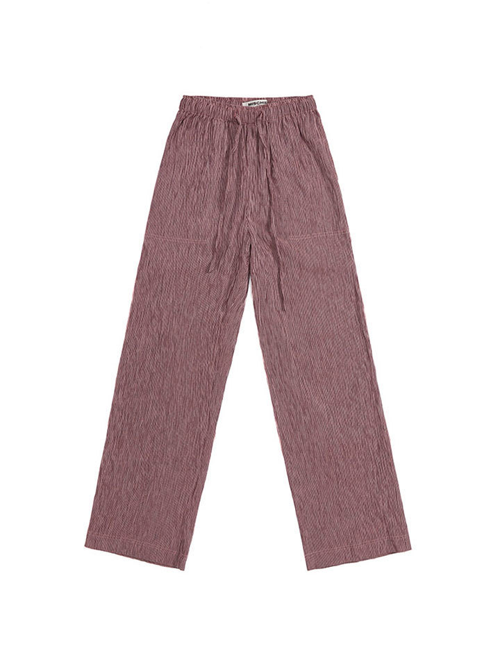 WRINKLED COTTON TROUSERS_pink/gray