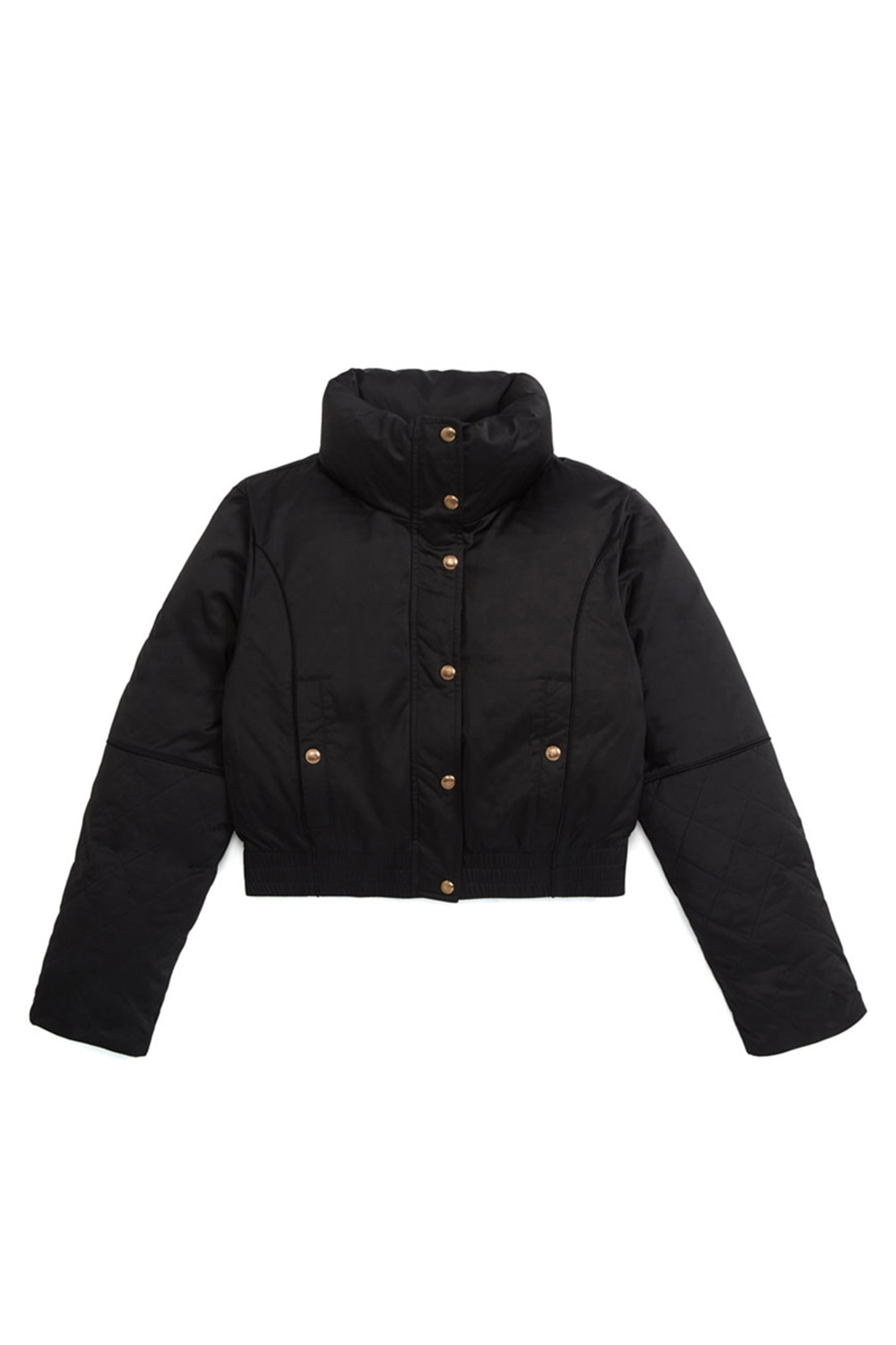 CROPPED QUILTED PARKA_black