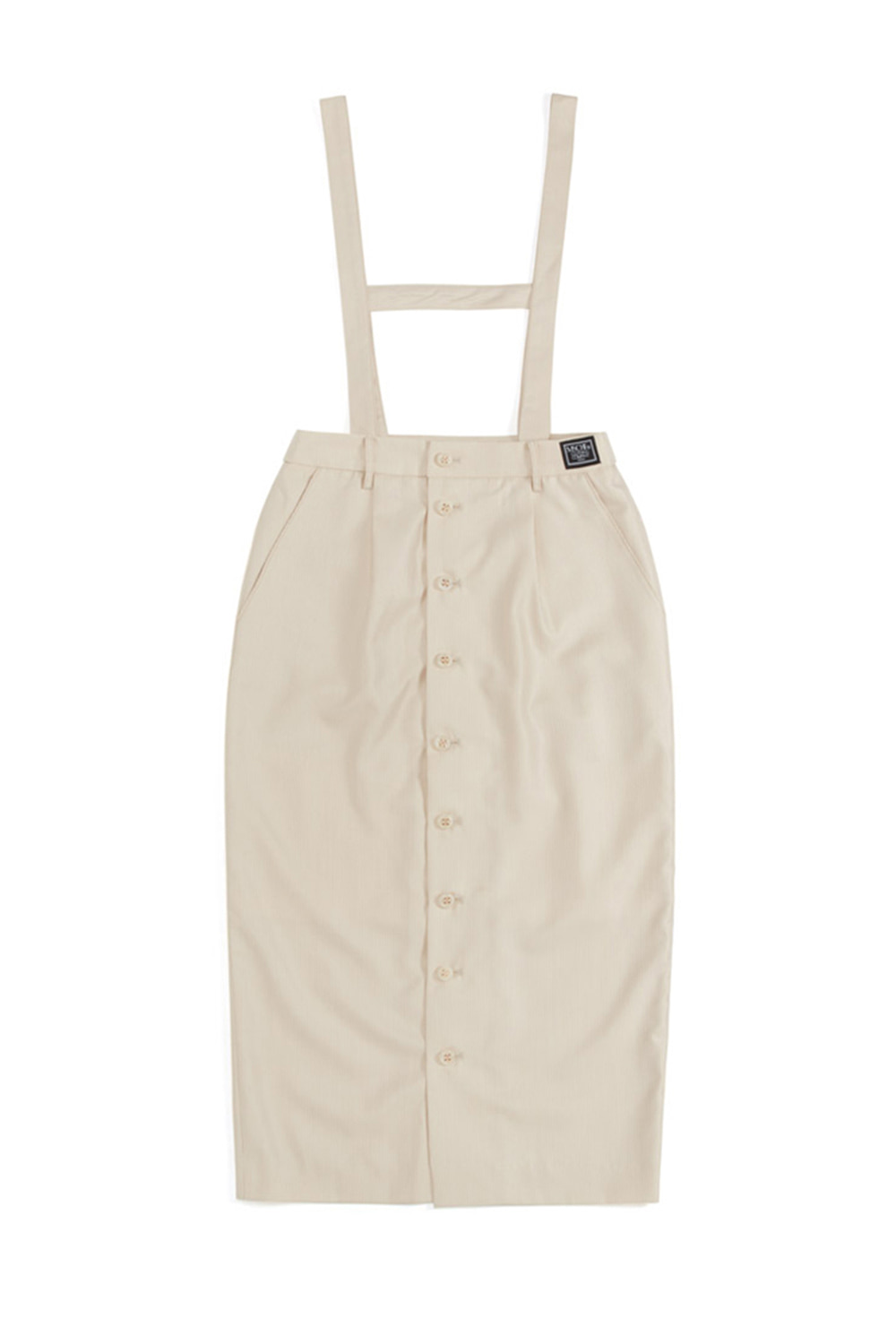 STRAP BUTTON UP LONG SKIRT_ivory