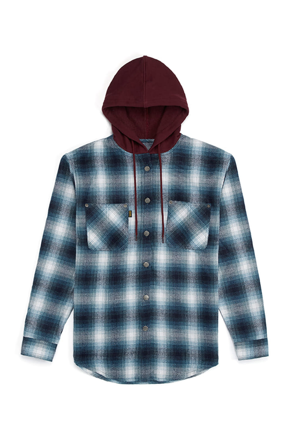 HOODIE CHECK SHIRTS_burgundy/blue