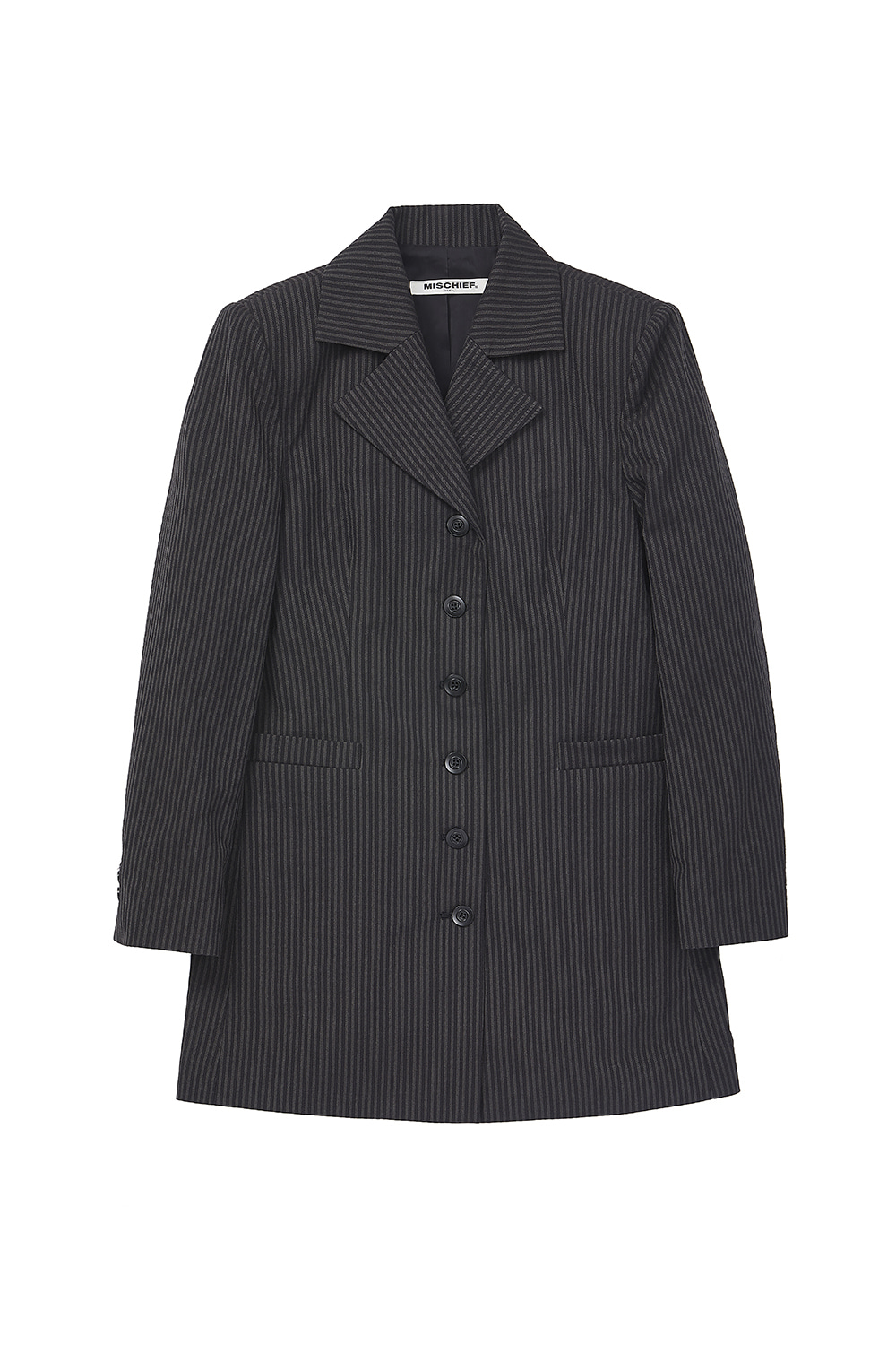 LONG SUIT JACKET_stripe black/gray