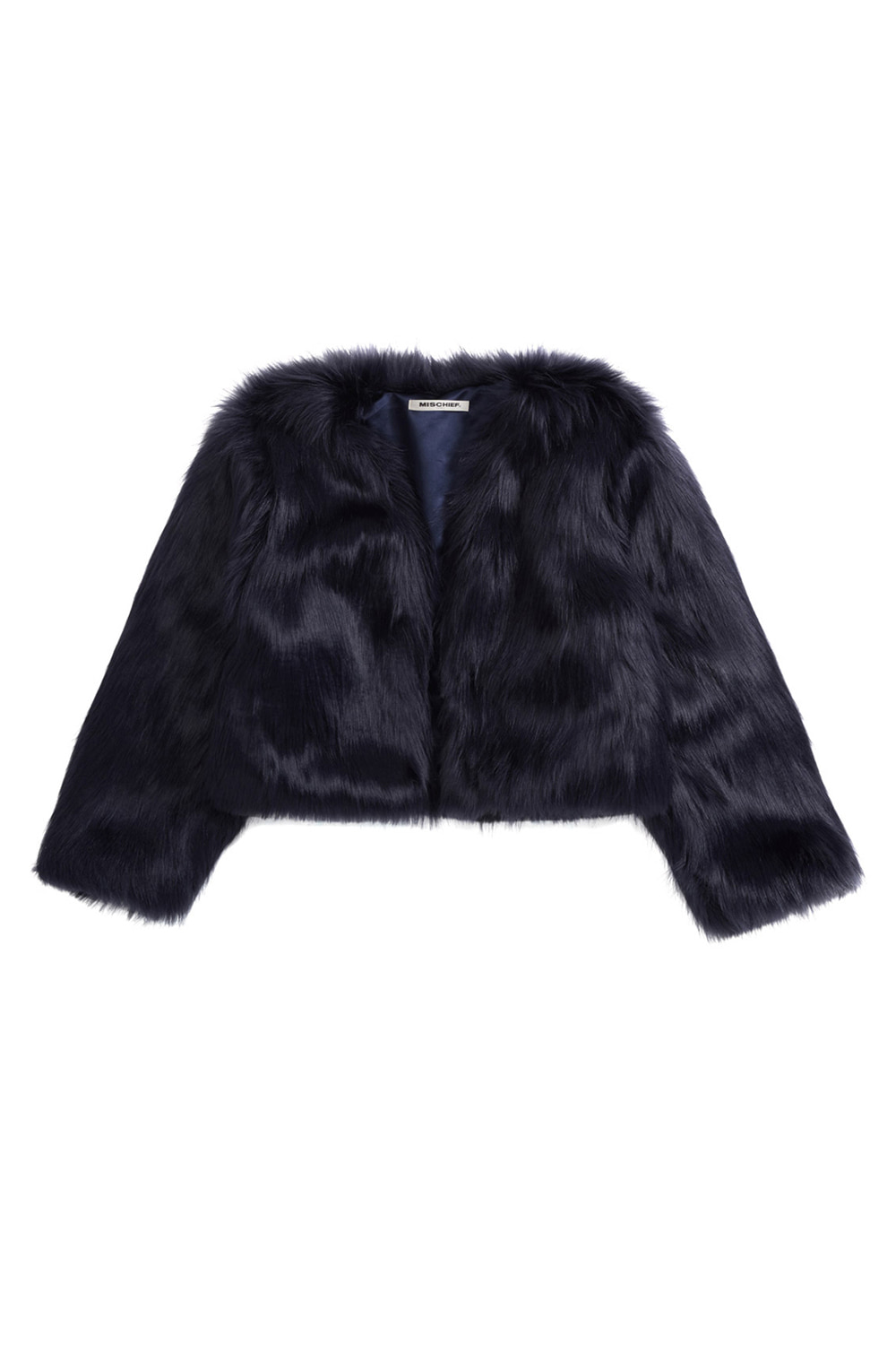 FAUX FUR CARDIGAN_navy