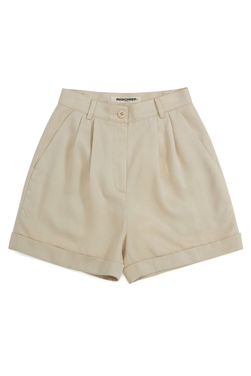TENCEL CUFFED SHORTS_ivory