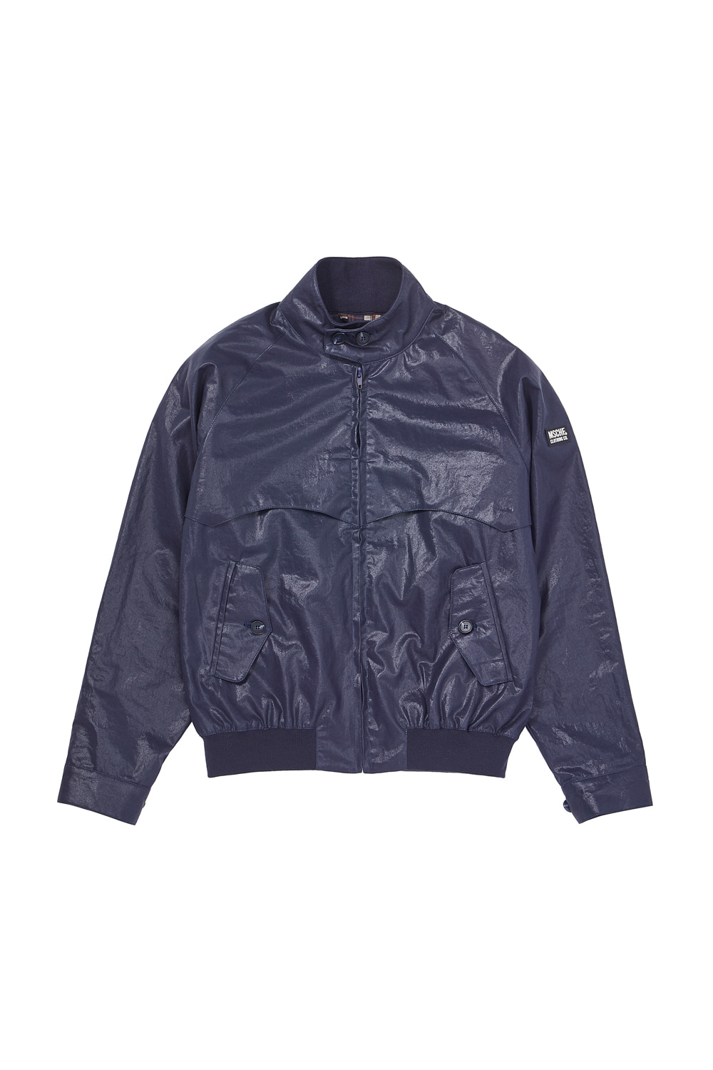 METALLIC COTTON SWING TOP JACKET_navy