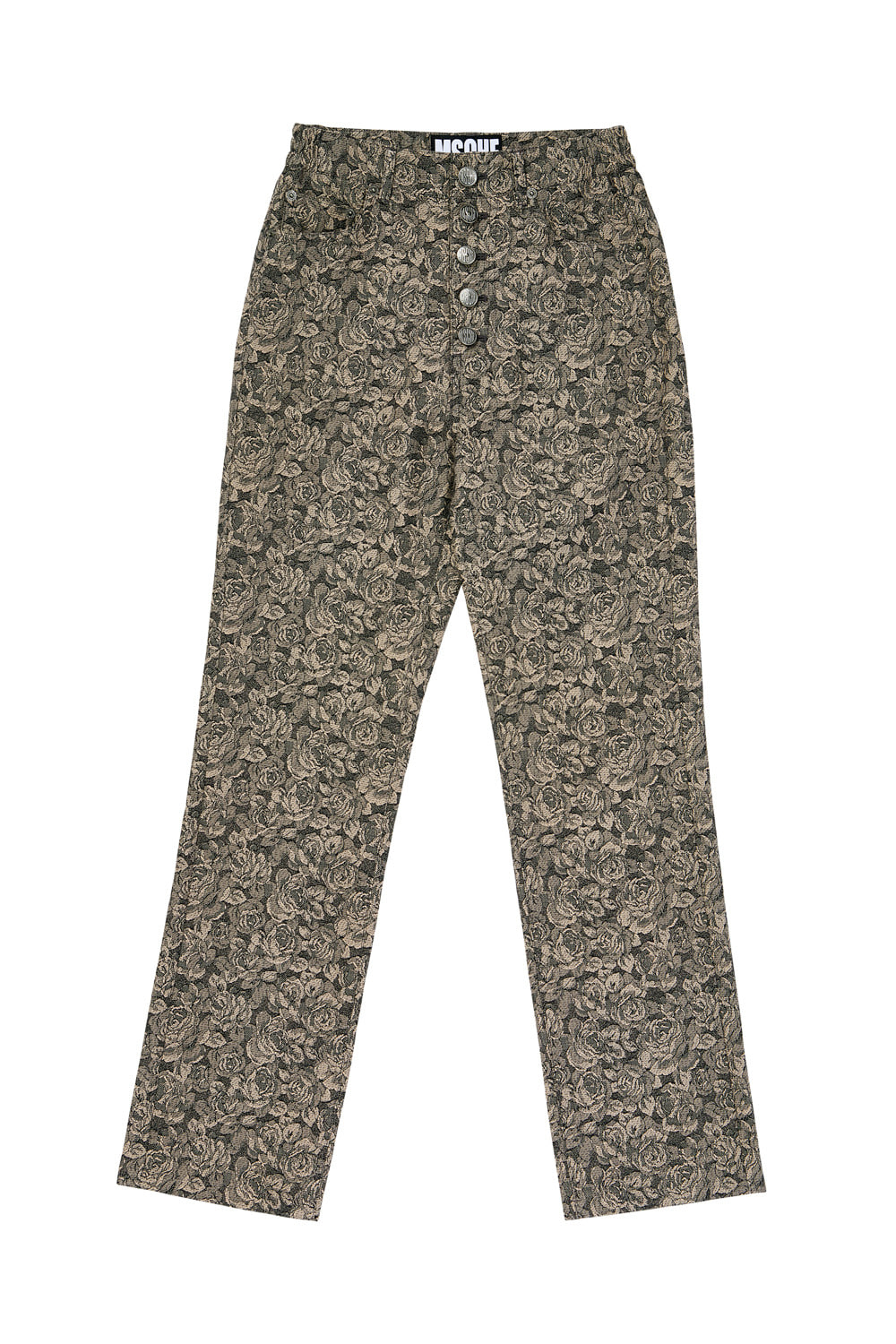 JACQUARD HIGH WAIST PANTS_beige rose