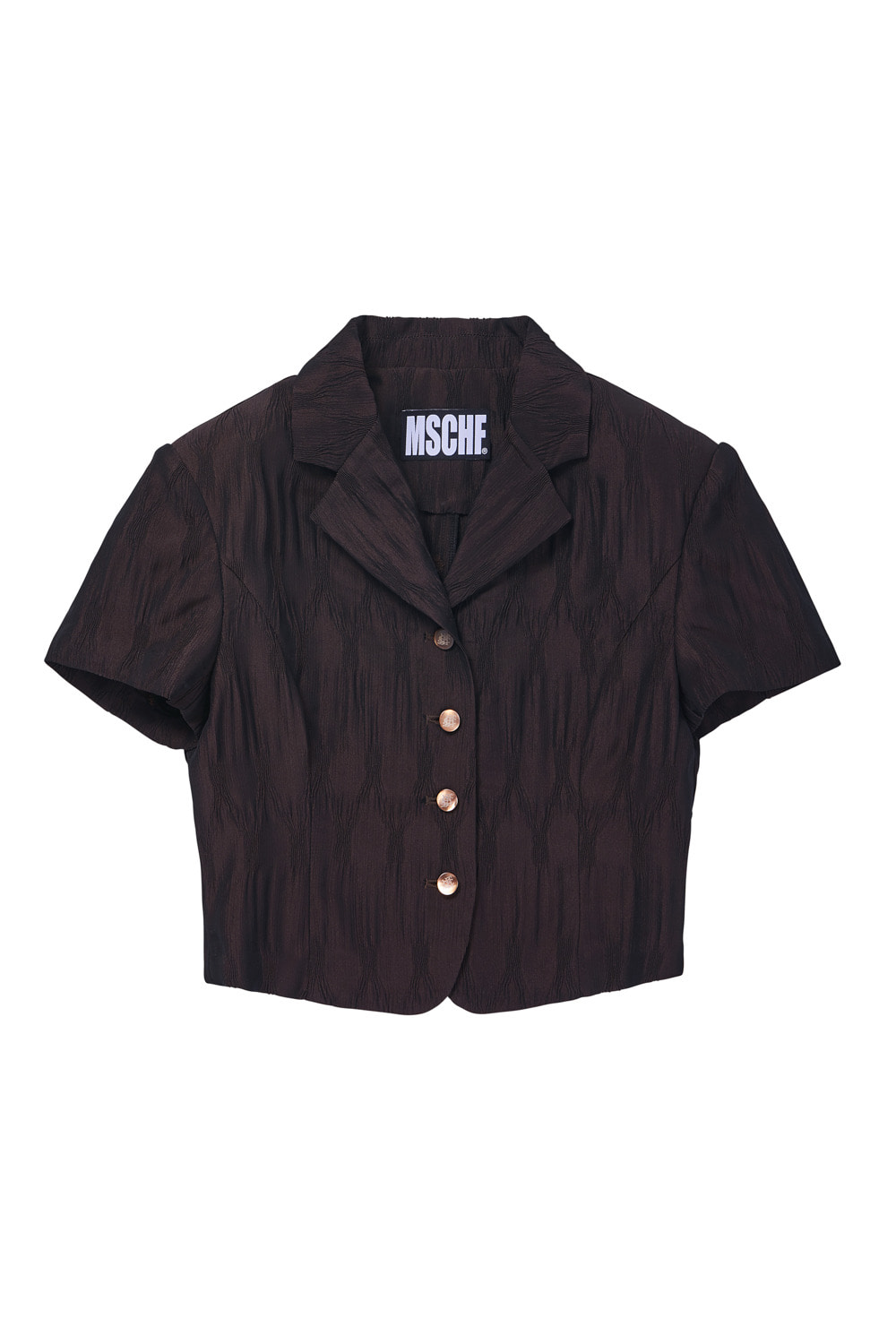 TWO-TONE CRINKLE BLOUSE_brown/light brown