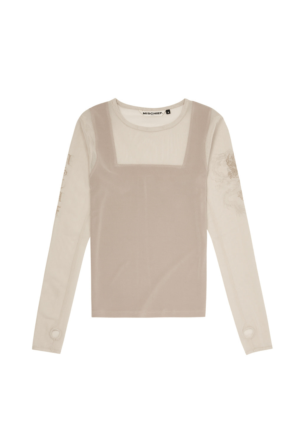 MESH PATCHWORK FITTED LONG SLEEVE_beige