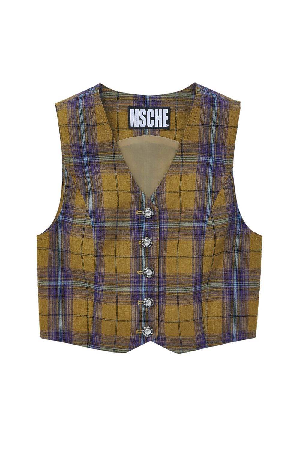 SLEEVELESS CHECK VEST_mustard/purple