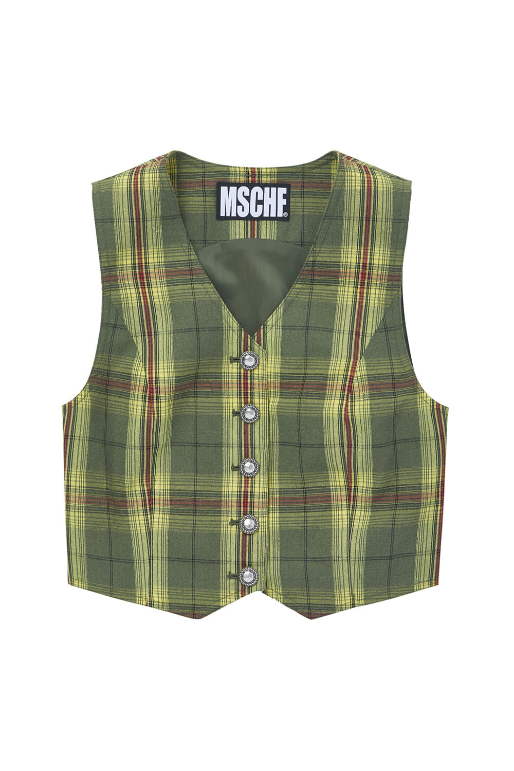 SLEEVELESS CHECK VEST_yellow/green