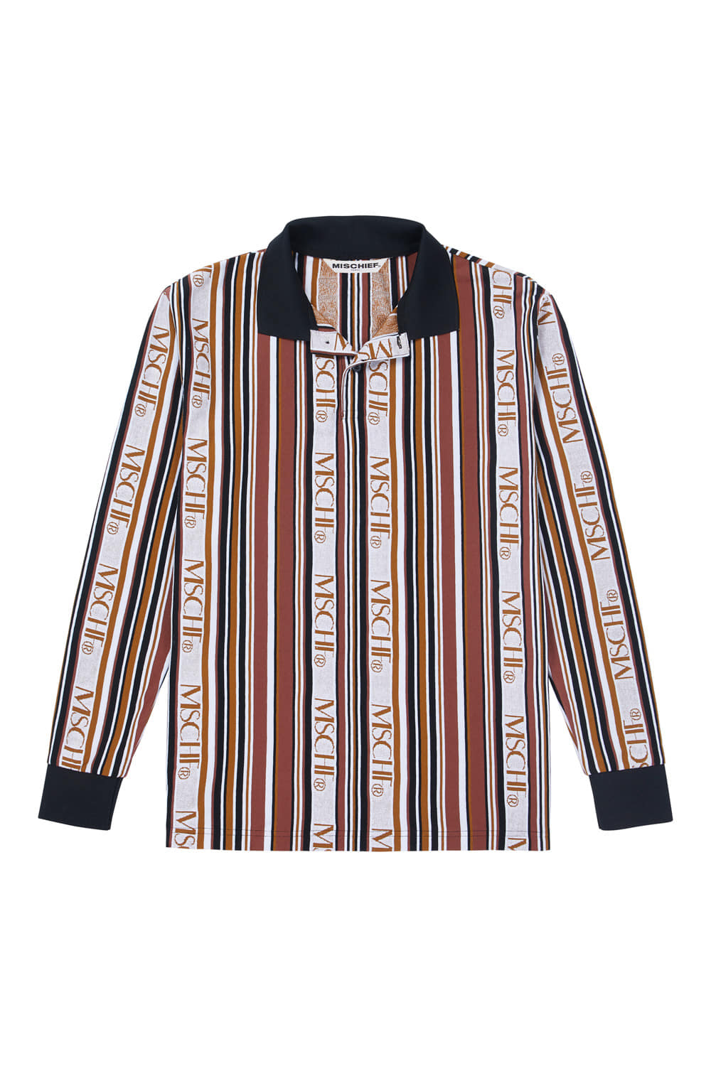 STRIPED LOGO COLLARED JERSEY_brown multi