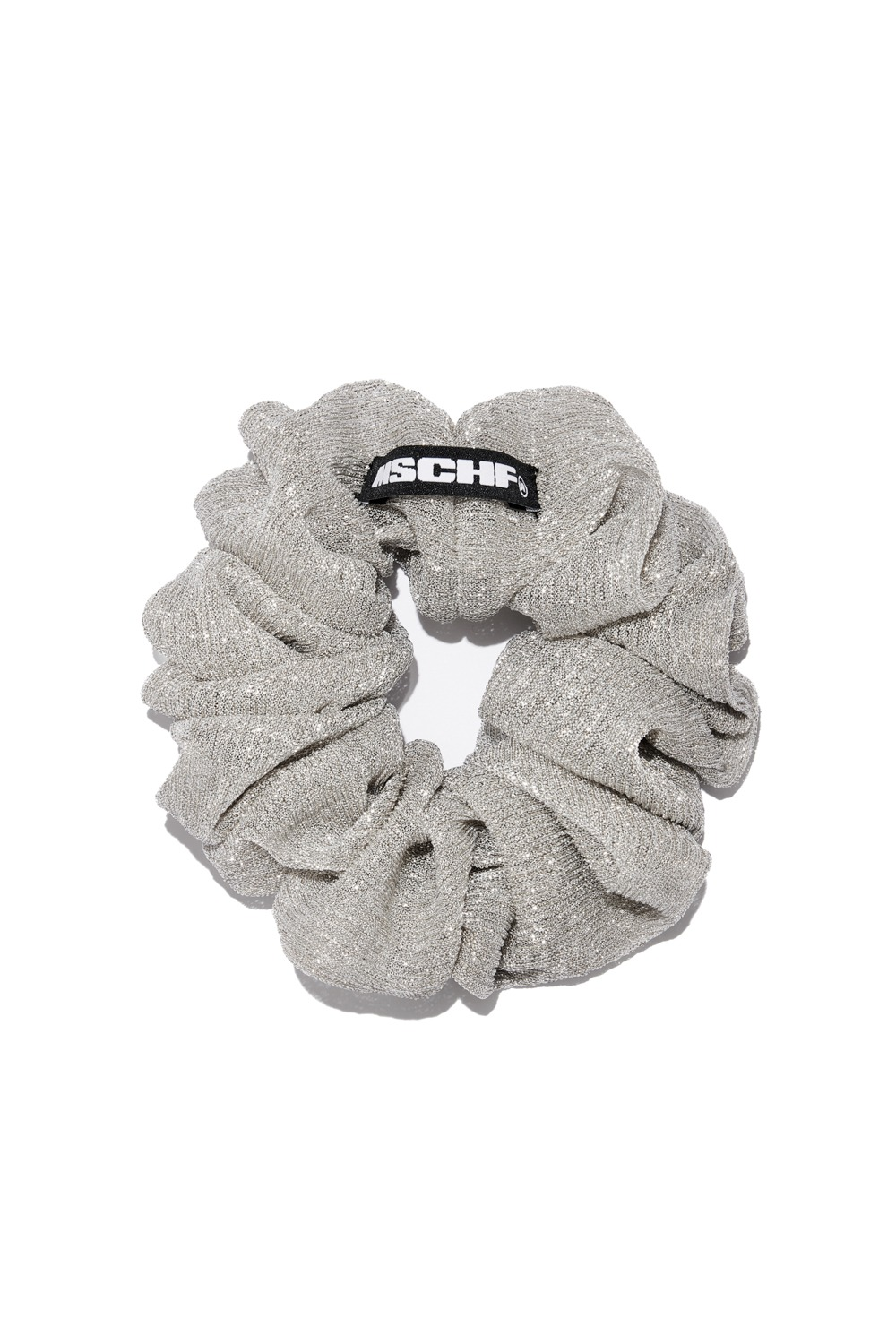 EVENING SCRUNCHIE_champagne silver mesh